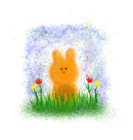 Bunny in Grass - MyPaint by VioletSuccubus