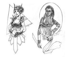 Commission - Lady Warriors by fictograph