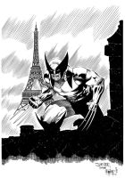 Wolverine in Paris (Ink Commission) by ernestj23