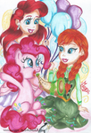 Pinkie Pie, Anna and Ariel by MeganLovesAngryBirds