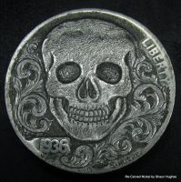Skull abd Scrolls Re-Carved Nickel by Shaun Hughes by shaun750