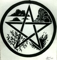 Elemental pentacle tattoo design by Alannah-Rose