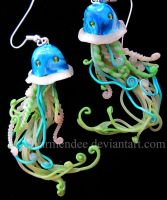 green  galaxy jelly fish earrings by carmendee