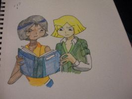 Alex and Clover reading the book by BlueRosePetalsQueen