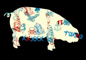 TATTOOED PIG TSHIRT by optimusdesigns