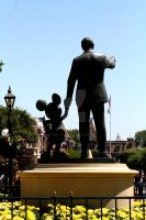 Statue of Mickey and Walt greeting there visitors by Pabloramosart