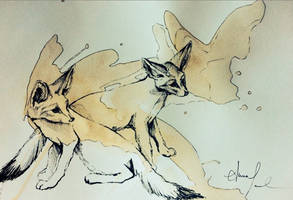 Fennec Foxes by AnnasFreeArt