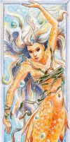 Bookmark: gold mermaid by PiraWTH