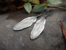 Feather~ Fine Silver Earrings by QuintessentialArts