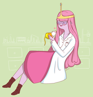 Princess Bubblegum and Science, the Rat by Deighvid