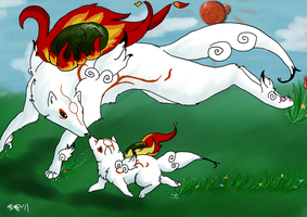Amaterasu and Chibiterasu by SugarBonBonne