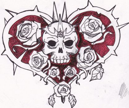 Crown of Thorns and Roses: Tattoo Design by Belclairade