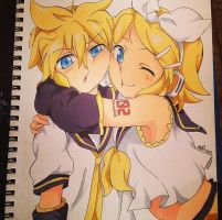Len and Rin Kagamine by Drawing--Skies