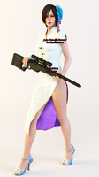 Ada Wong White Chinese Dress With Sniper Render by Ada-Momiji-Forever