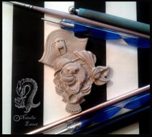 Polymer Clay Pirate Ferret Brooch Pin WIP by natamon
