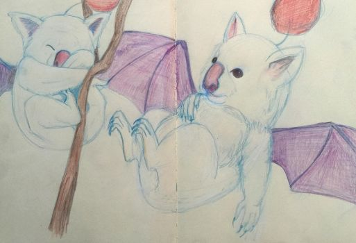 Realistic Moogle sketches  by thefaeriedragon