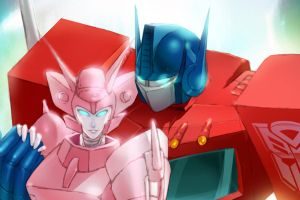 Optimus Prime and Elita One by yhykurama