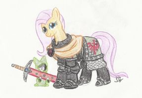 Knight Fluttershy of the I. Dark Angels by Sensko