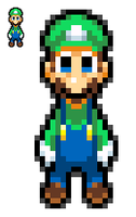New Luigi SMBHotS Sprite design by KingAsylus91