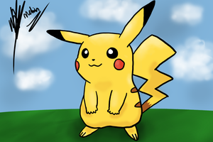 Pikachu Chilling On The Grass drawing from scrap by SmokeMelvin