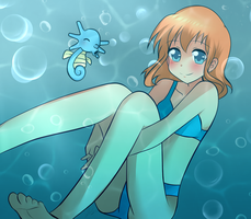 Underwater Misty and horsea - Happy New Year by superalvichan