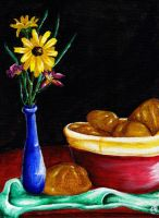 Still Life- Bread and Flowers by 3r1k4
