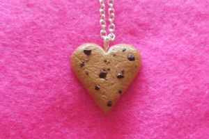 Chocolate Chip Heart Cookie Necklace by Rotting-Soul