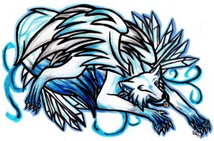 Ice the Winged Wolf by BRW-Doraigaa