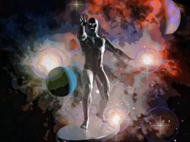 Silver Surfer in the space by hiram67