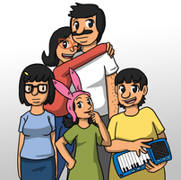 Bob's Burger family portrait by Sixala