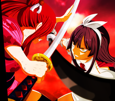 Fairy Tail: Erza Vs. Kagura - Is Time To Fight by SensationalGames