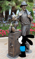 Oswald sees Walt Disney and Mickey statue at DCA by ElMarcosLuckydel96