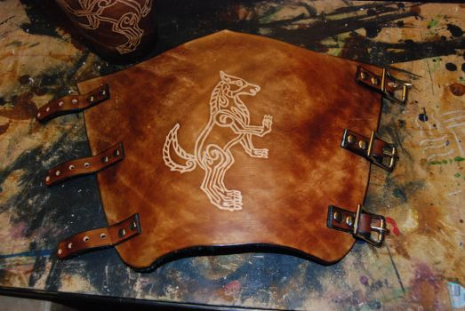 Celtic Wolf Bracers -with Buckles by Celt-Skins