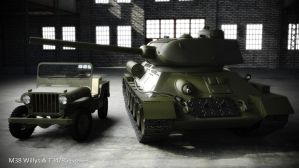 Jeew Willys and T34-85 tank by shareck