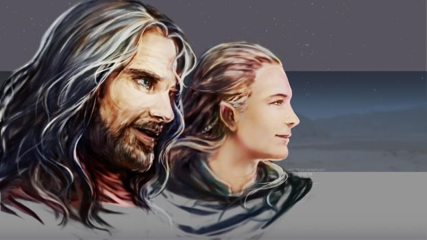 [LotR] King Elessar and the Prince of Woodland by noei1984