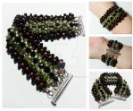 Green, Pink, Black Triple Daisy Stitched Bracelet by MoonlightMysteria