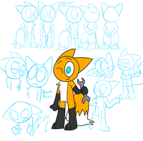 Miles ''Tails'' the Fox-cat model sheet by kitopia