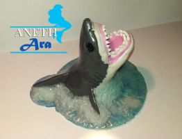Great White Shark - Polymer Clay Sculpture by DefinitionOfDestiny