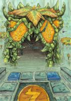 ACEO - Mire Temple Entrance by BloodhoundOmega
