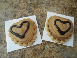 Reeses hearts cakes by Foxbeast