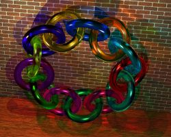 Raytraced Glass Moebius Rings by mcsoftware