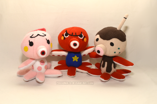 ACNL Octopi plushies - FOR SALE by Possumato