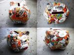 Decoupage on Piggybank by SophieEkard