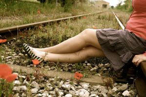 Girl on the railway by Gustavs
