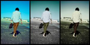 Beach Walker Triptych by edhall