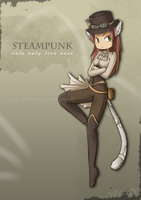 Steampunk Cat by H-Chan-Arts
