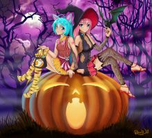 Miku and Luka Halloween by Randwill