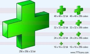 Green cross 3d Icon by medical-icon-set
