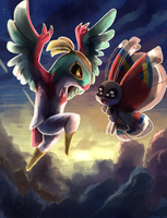 Hawlucha and Vivillion by Bread-Crumbz