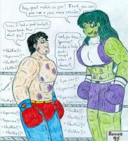 Boxing Superman vs She Hulk by Jose-Ramiro